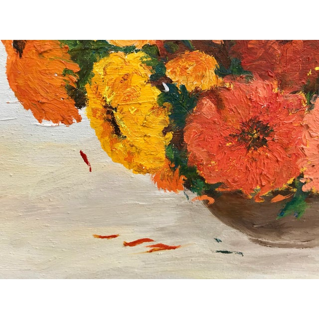 Canvas 1970s Vintage Yellow and Orange Flowers Framed Painting For Sale - Image 7 of 8