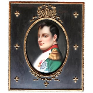 Antique 19th Century French Miniature of Napoleon I After Paul Delaroche in Period Frame For Sale