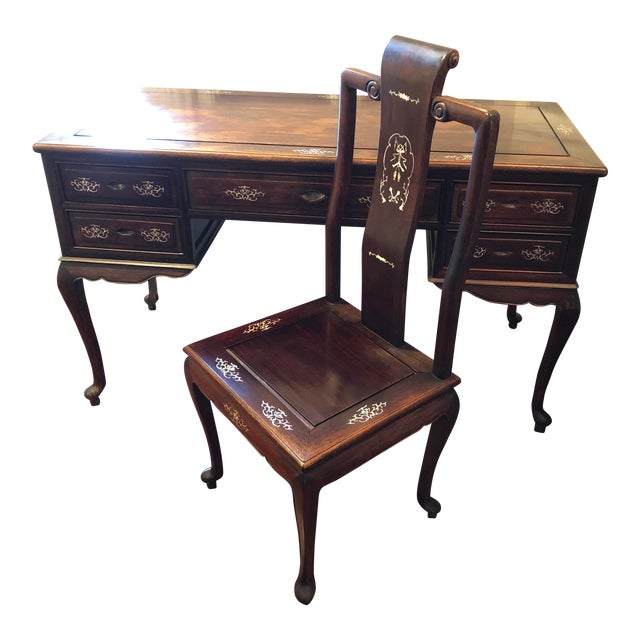 1980's Chinese Rosewood Desk & Chair - 2 Pieces For Sale