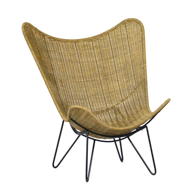 Contemporary Rattan & Iron Scoop Chair For Sale - Image 3 of 3