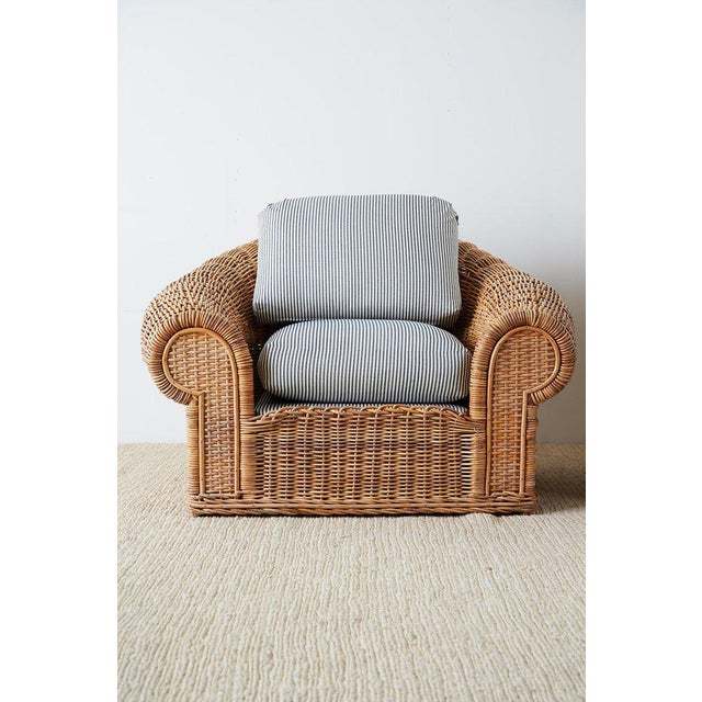 Late 20th Century Michael Taylor Style Wicker Lounge Chairs With Ottoman For Sale - Image 5 of 13
