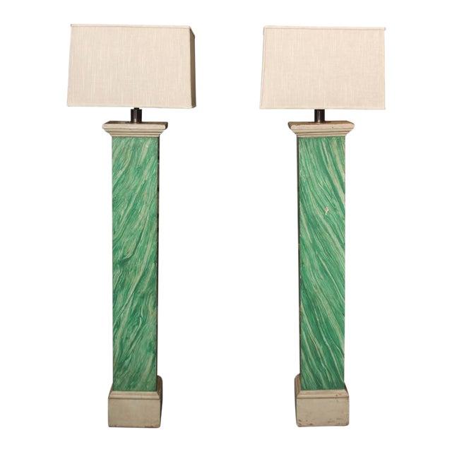 Faux Malachite Floor Lamps For Sale