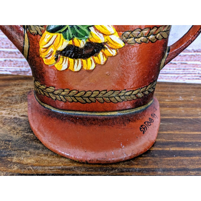 Farmhouse 1880 Antique Victorian Cast Iron Flower Pot Doorstop With Sunflowers For Sale - Image 3 of 7