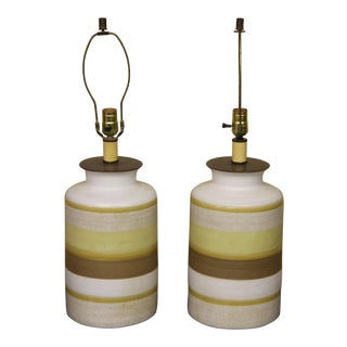 1980s Modern Glazed Pottery Table Lamps - a Pair For Sale
