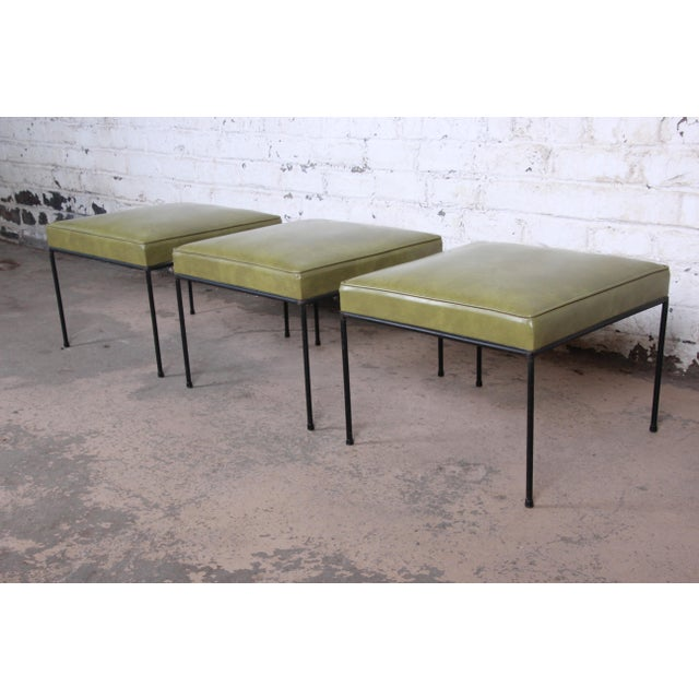 Black Paul McCobb Green Vinyl Upholstered Iron Stool or Ottoman For Sale - Image 8 of 10