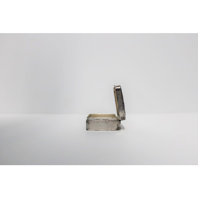 Metal Cartier Sterling Silver and Blue Enamel Pill Box For Sale - Image 7 of 8