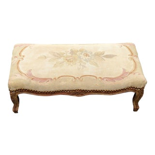 1960s Antique Carved Wood Floral Tapestry Footstool