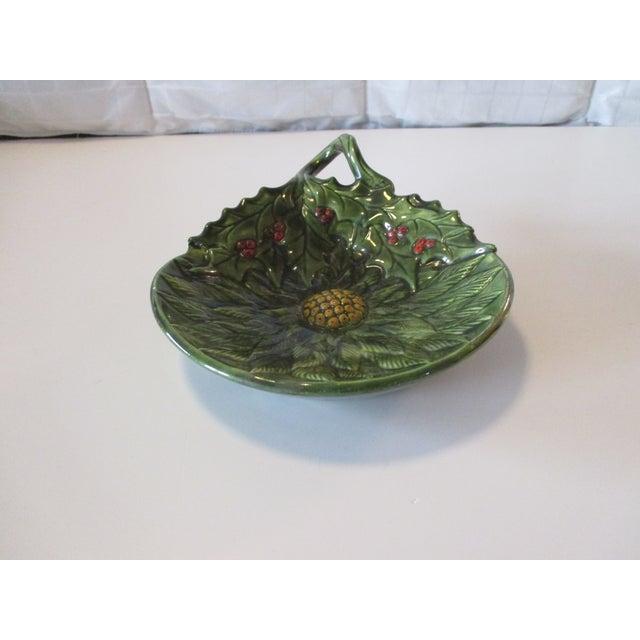 Vintage Decorative Holy Candy Green Dish Ceramic Size: 8 x 6 x 1