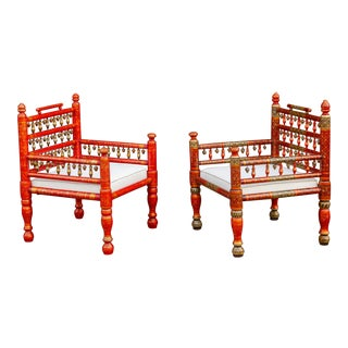 Hand Painted Festive Anglo Indian Chairs, Set of Two For Sale