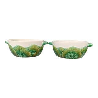 Vintage Secla Majolica Leaf Bowls - a Pair For Sale