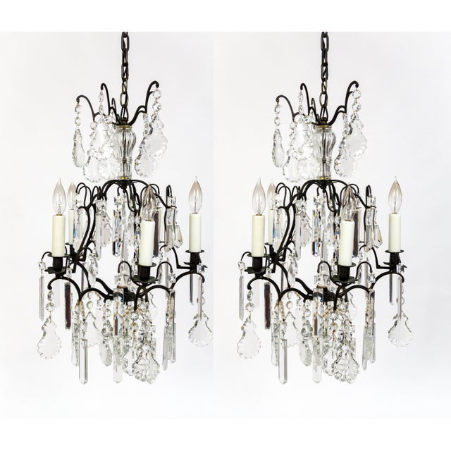 Multi Crystal Birdcage Chandeliers - a Pair For Sale - Image 13 of 13