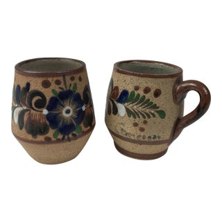 Mexican Painted Stoneware Shot Glasses - a Pair