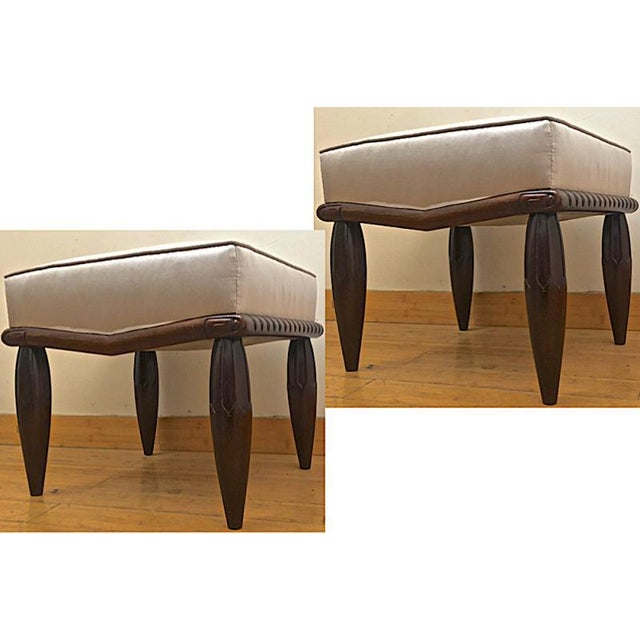 Georges De Bardyere Art Deco Refined Carved Pair of Stools Newly Recovered in Skin Silk For Sale - Image 6 of 7