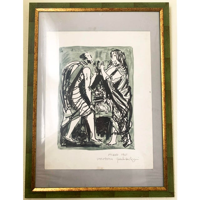1961 Italian Framed Watercolor Ink Sketch Painting of a Roman Man and Woman Wearing Togas For Sale - Image 10 of 10