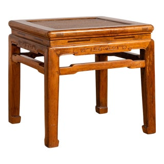 Antique Chinese Ming Style Elmwood Waisted Side Table with Horsehoof Legs For Sale