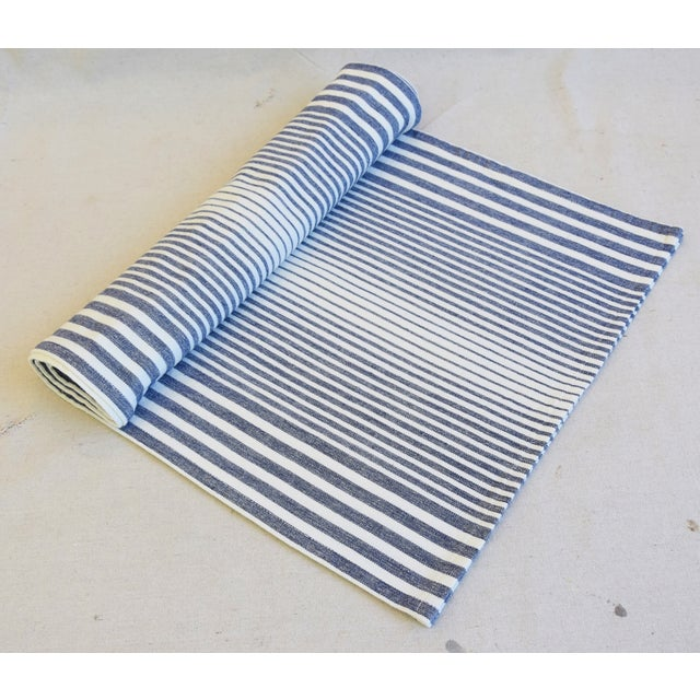 """French Blue & White Striped French Country Table Runner 110"""" Long For Sale - Image 3 of 3"""