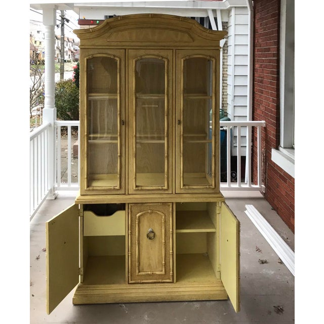 Hollywood Regency 1970s Vintage Thomasville Faux Bamboo China Cabinet For Sale - Image 3 of 6