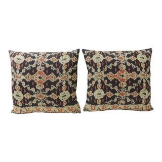 Pair of Vintage Orange and Dark Ikat Indigo Decorative Pillows For Sale