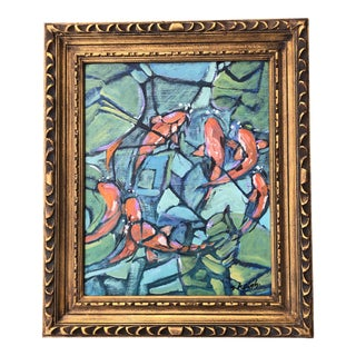 """Original Contemporary Stephen Heigh Abstract Painting """"Pond Fish"""" 16 X 20 For Sale"""