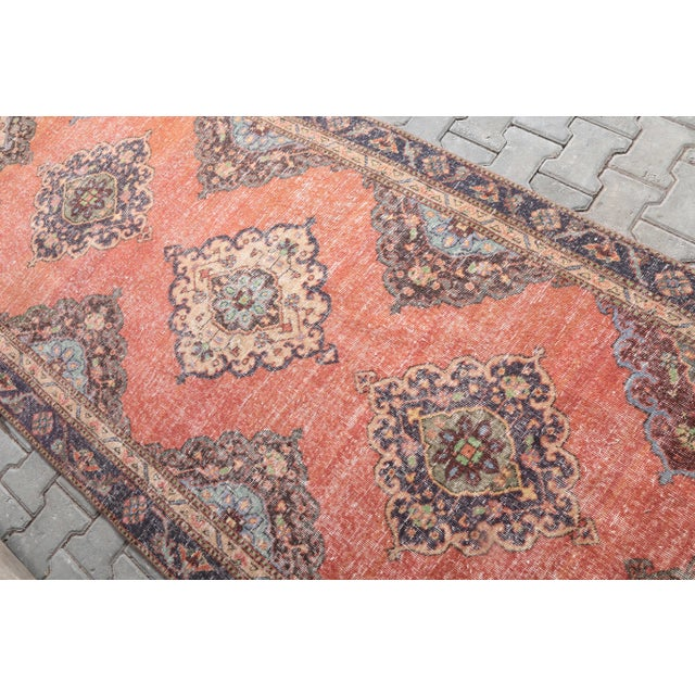 """1960's Vintage Turkish Hand-Knotted Wide Runner Rug - 4'4"""" X 12'5"""" For Sale - Image 4 of 11"""