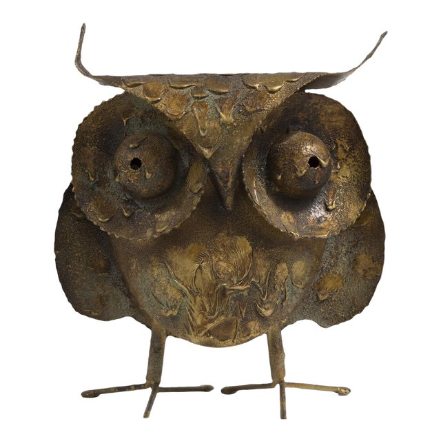 A Brutalist Owl by C. Jere Signed 1968 For Sale
