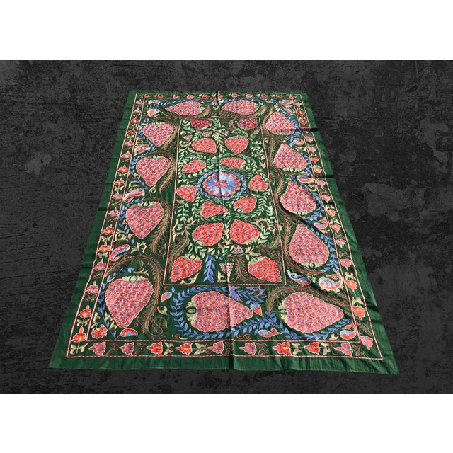 "Green Handmade Suzani Strawberry Design Crochet Embroidered Wall Hanging / Bedspread - 7'1"" X 3'7"" For Sale - Image 8 of 8"