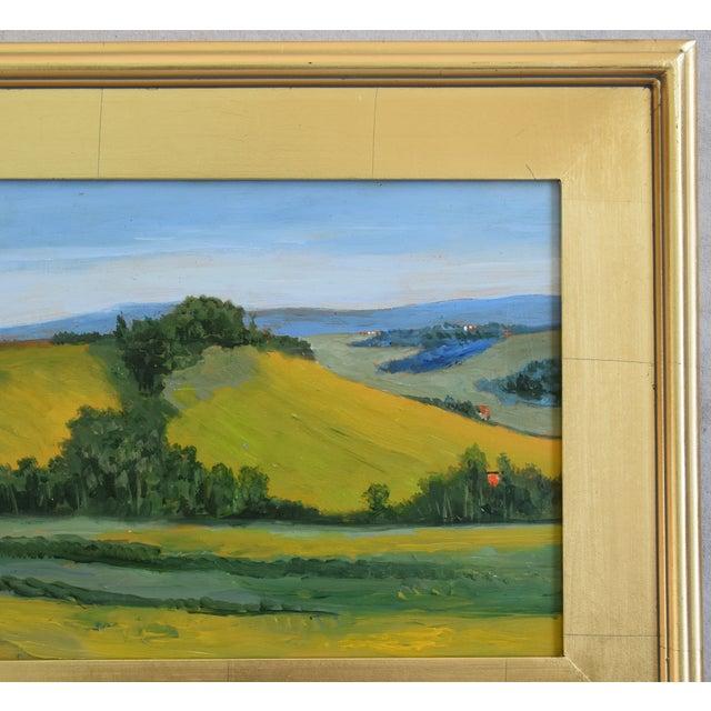 California Golden Foothills Landscape Oil Painting W/ Gold Leaf Frame For Sale - Image 4 of 8