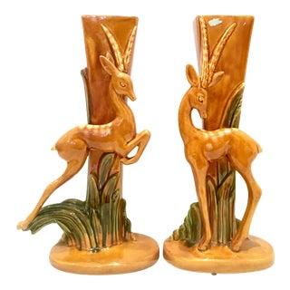 Mid-20th Century Pair of Art Deco Ceramic Glaze Gazelle Vases by Royal Haeger. For Sale