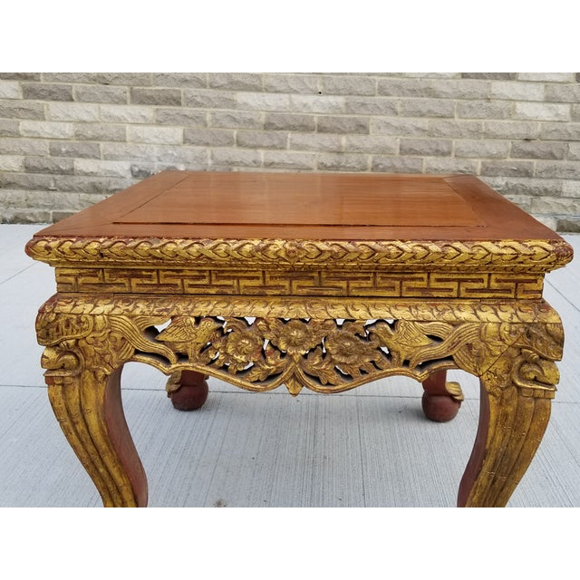 Antique Chinese Gilt Carved Wood Kang Table For Sale - Image 4 of 13