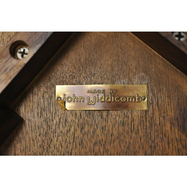 20th Century Hollywood Regency John Widdicomb Walnut Low Side Table For Sale - Image 9 of 11