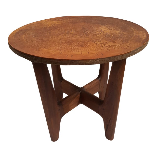 1960s Mid-Century Modern Angel Pazmino, Ecuador, Leather and Wood Table For Sale