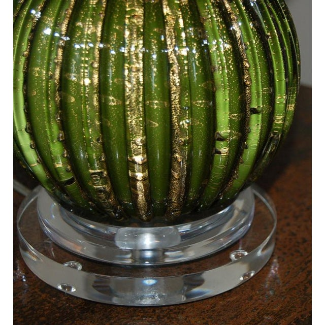 Vintage Murano Glass Stacked Ball Murano Lamps Green Gold For Sale - Image 9 of 10