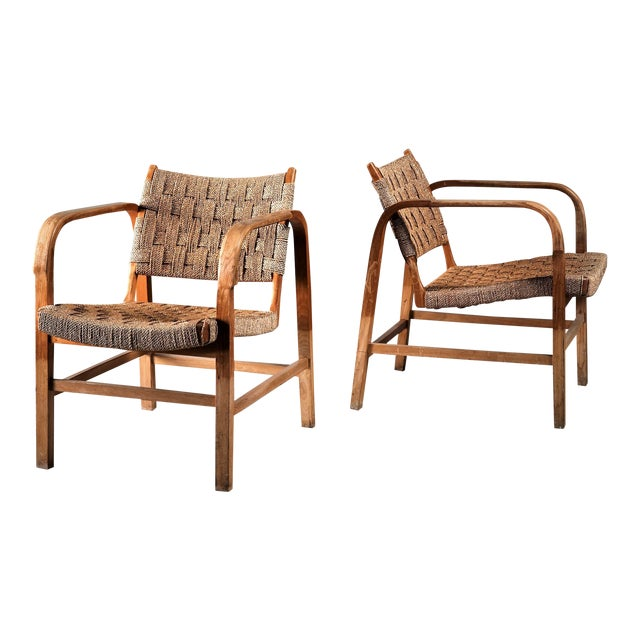 Magnus Stephensen Pair of Bent Beech and Seagrass Armchairs, Denmark, 1930s For Sale