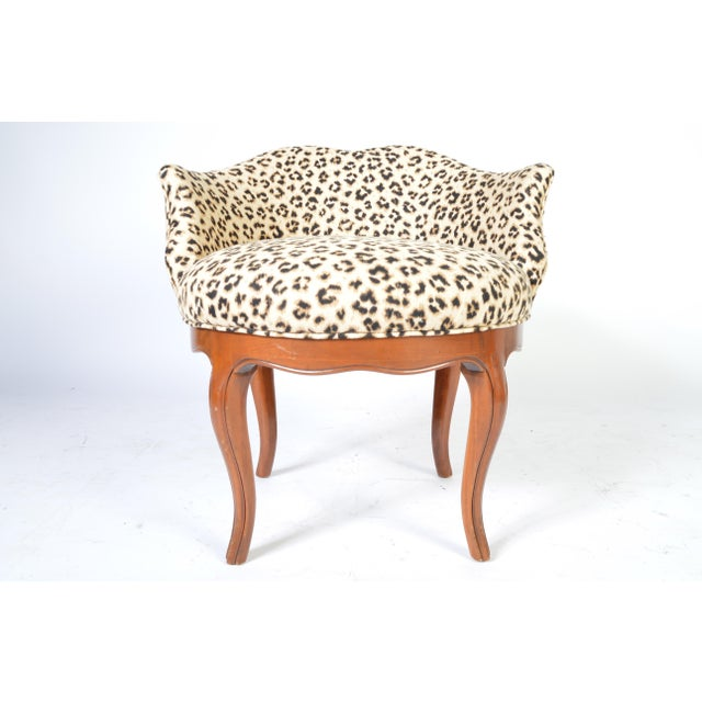 Louis XV Style French Vanity Chair Having Cheetah Upholstery. Ca 1950 newly reupholstered with fresh cushion, walnut frame...
