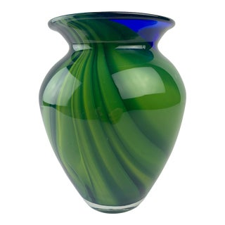 Vintage Green Blue Murano Style Glass Vase For Sale