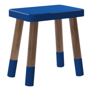 Tippy Toe Kids Chair in Walnut and Pacific Blue Finish For Sale