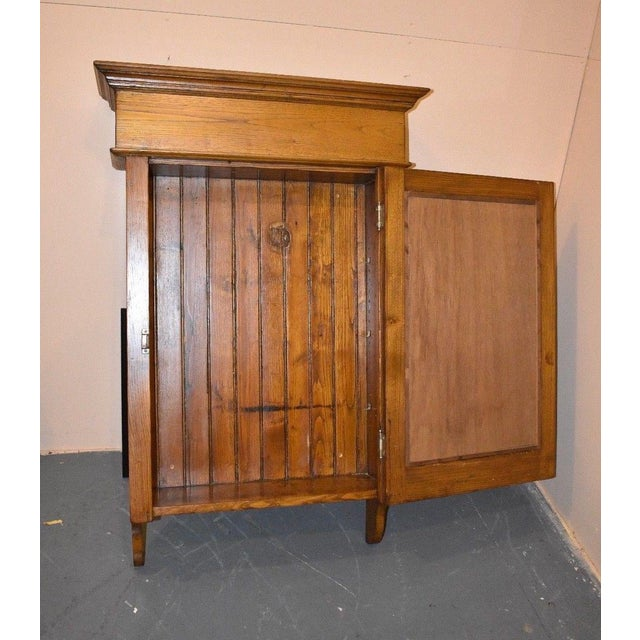 Antique Oak Mirrored Wall Cabinet single door Beveled glass mirror. Looks as - Huge Antique Wall Medicine Cabinet Primitive Display Mirrored