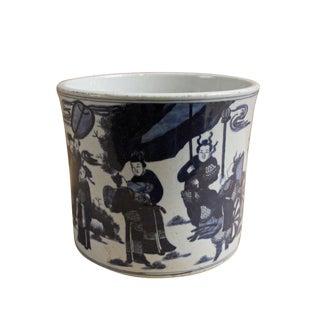 Chinese Blue & White Porcelain People Scenery Brush Holder Pot