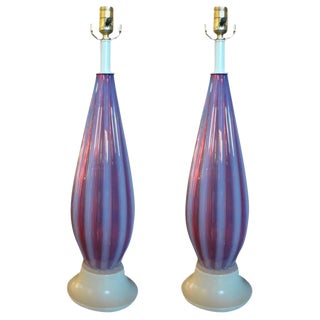 Italian Opalescent Murano Glass Lamps Attributed to Seguso-A Pair For Sale