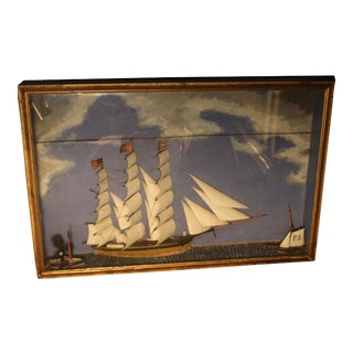 19th C. Antique American Sailing Ship Model Painting For Sale