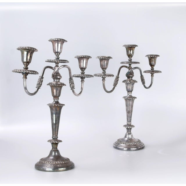 Friedman Silver Plated Three Arm Candelabra by Friedman Silver Co. a - Pair For Sale - Image 4 of 10