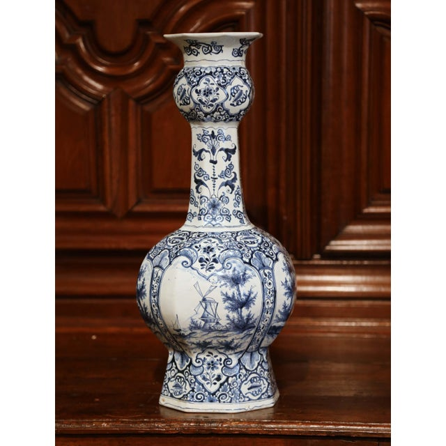 19th Century Dutch Blue And White Delft Vase With Courting And