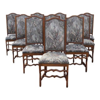 French Louis XIII Style Solid Walnut Os De Mouton Dining Chairs - Set of 10