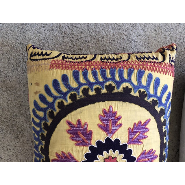 Silk Vintage Suzani Pillows - a Pair For Sale - Image 7 of 8
