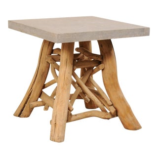 European Rustic Natural Tree Branch Occasional Table For Sale