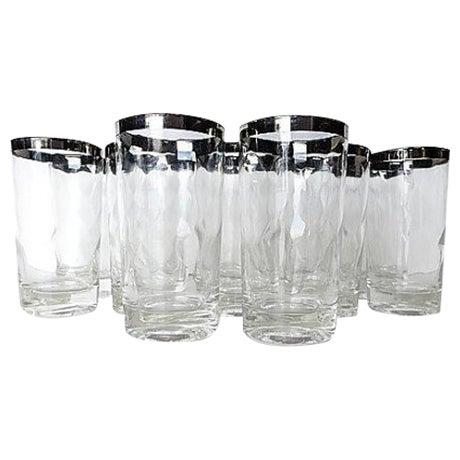 Mid-Century Modern Silver Rim Glassware - 11 For Sale