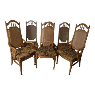 6 Cane Back Late 19th Century French Dining Chairs For Sale