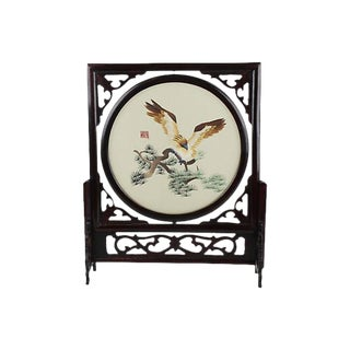 Chinese Silk Embroidery in Rosewood Frame For Sale