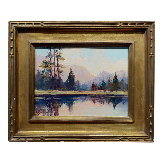 Jules Bernard Dahlager -View of Short Bay in Ketchikan Alaska C.1940- Impressionist Oil Painting For Sale