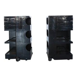 Mid-Century Modern Joe Colombo Black Bar Carts - a Pair For Sale